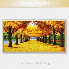 Impressionist Golden Tree Oil Painting Beautiful Wall Art Hand-painted Forest Trees for Living Room Decor