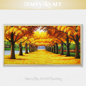 Impressionist Golden Tree Oil Painting Beautiful Wall Art Hand-painted Golden Forest Trees Oil Painting for Living Room Decor