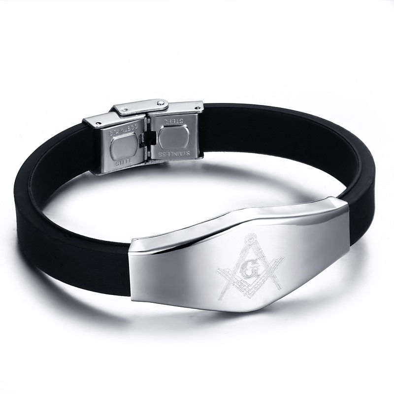 Factory Price Black Silicone Men's Masonic Symbol Bracelet Stainless Steel Bangles For Male Daily Wearing Jewelry