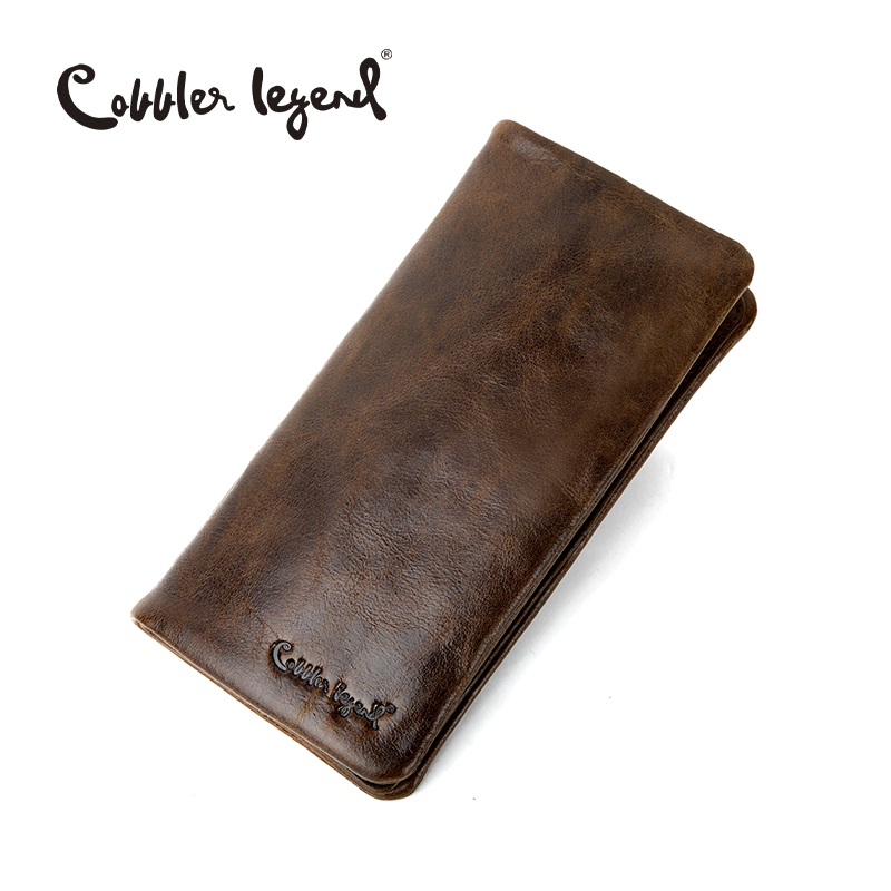 Cobbler Legend Fashion Men's Wallet Male Brown Clutch Real Leather Wallets Business Style Card Holder Luxury Designer Long Purse new arrival 2017 wallet long vintage man wallets soft leather purse clutch designer card holders business handbags clips