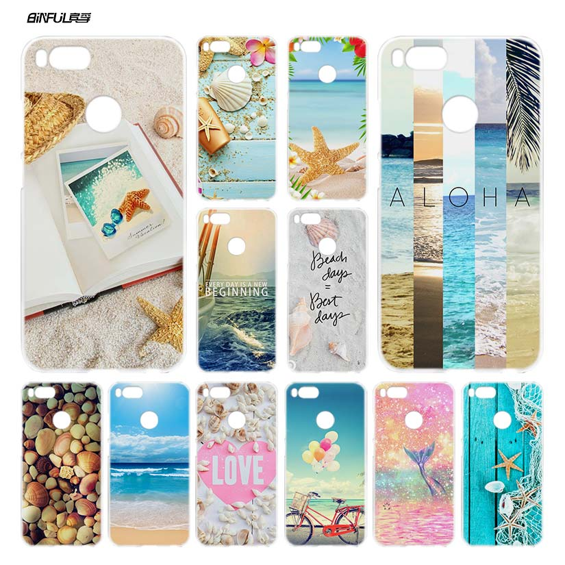 BiNFUL Beaches shellfish Clear Cover Case Coque for Xiaomi Redmi Mi A1 5X Note 4X 4 5 5A Plus