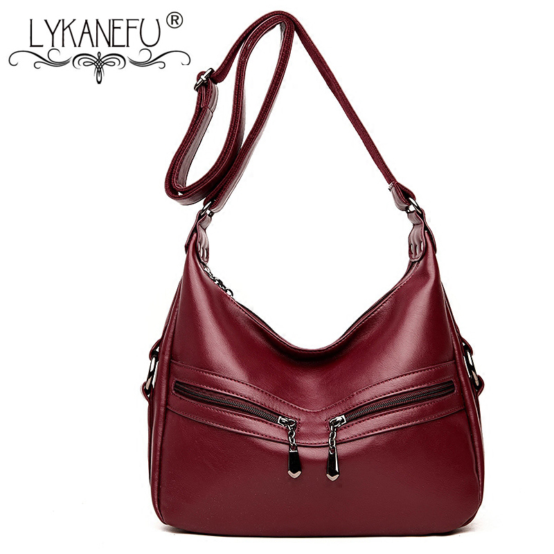 LYKANEFU Luxury Women Bag Hobo Shoulder Bags Female Designer Handbags High Quality Women Leather Handbag OL Bolsa Feminina women messenger bags designer handbags high quality 2017 new belt portable handbag retro wild shoulder diagonal package bolsa