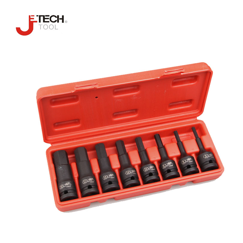 Jetech 8pcs/set 1/2 DR long black hex impact bit socket HX5 HX6 HX8 HX10 HX12 HX14 HX17 HX19 3 length jetech 8pcs 3 long black impact torx star socket bit 1 2 drive t30 t40 t45 t47 t50 t55 t60 t70 sleeve length 78mm without hole