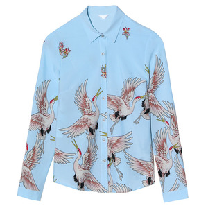 Image 5 - 2019 nouveau printemps mode imprimé chemise femmes OL tempérament rétro à manches longues en mousseline de soie blouses bureau dames grande taille haut formel