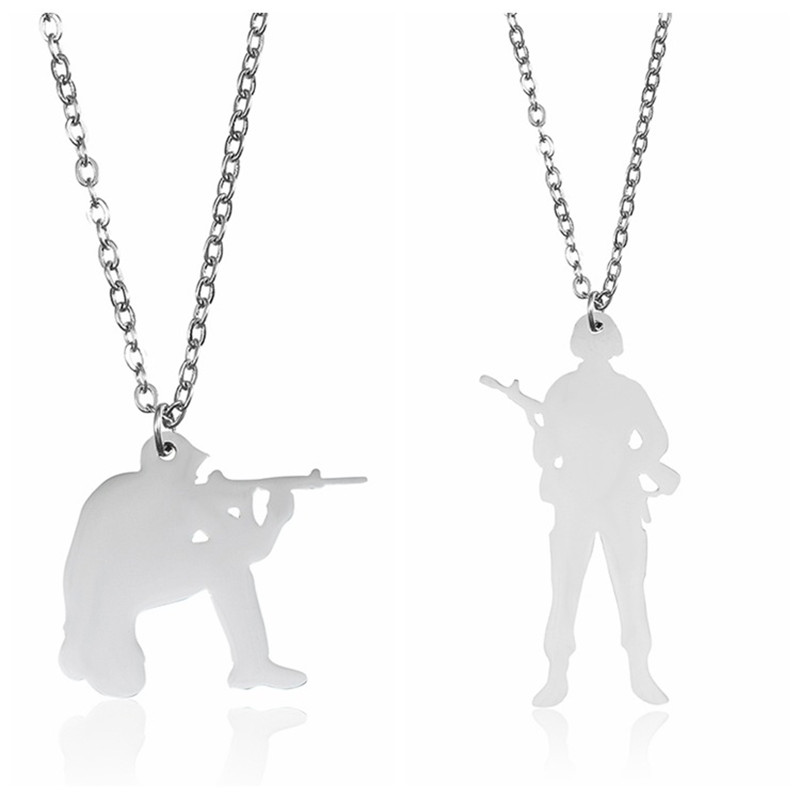 Elfin 2018 Hip-hop 304 Stainless Steel Soldier Necklace Silver Plated Warrior Gun Pendant Necklace Soldier Memorial Jewellery