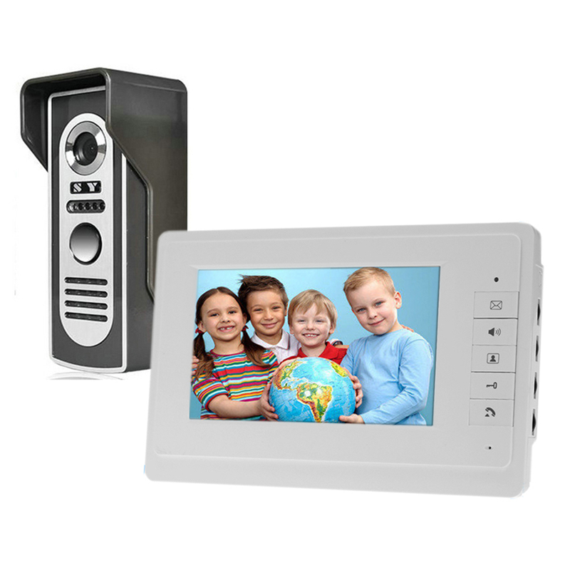 HD 7 inch TFT Color Wired Video Door Phone Intercom Doorbell System 700TVL IR Doorphone Camera Monitor Speakerphone Intercom jex 10 inch lcd video intercom doorphone doorbell speaker intercom system kit 4 monitor 700tvl ir camera 1v4 in stock