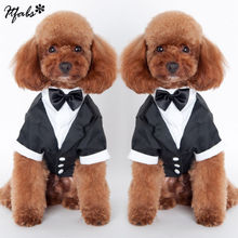 Милый питомец собака кошка Костюмы принц Свадебный костюм смокинг галстук-бабочку щенок одежда пальто