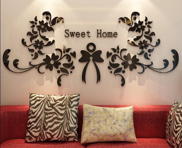 Acrylic Crystal Wall Decor: Free Shipping Sweet Home 3D Tv Background Wall Acrylic