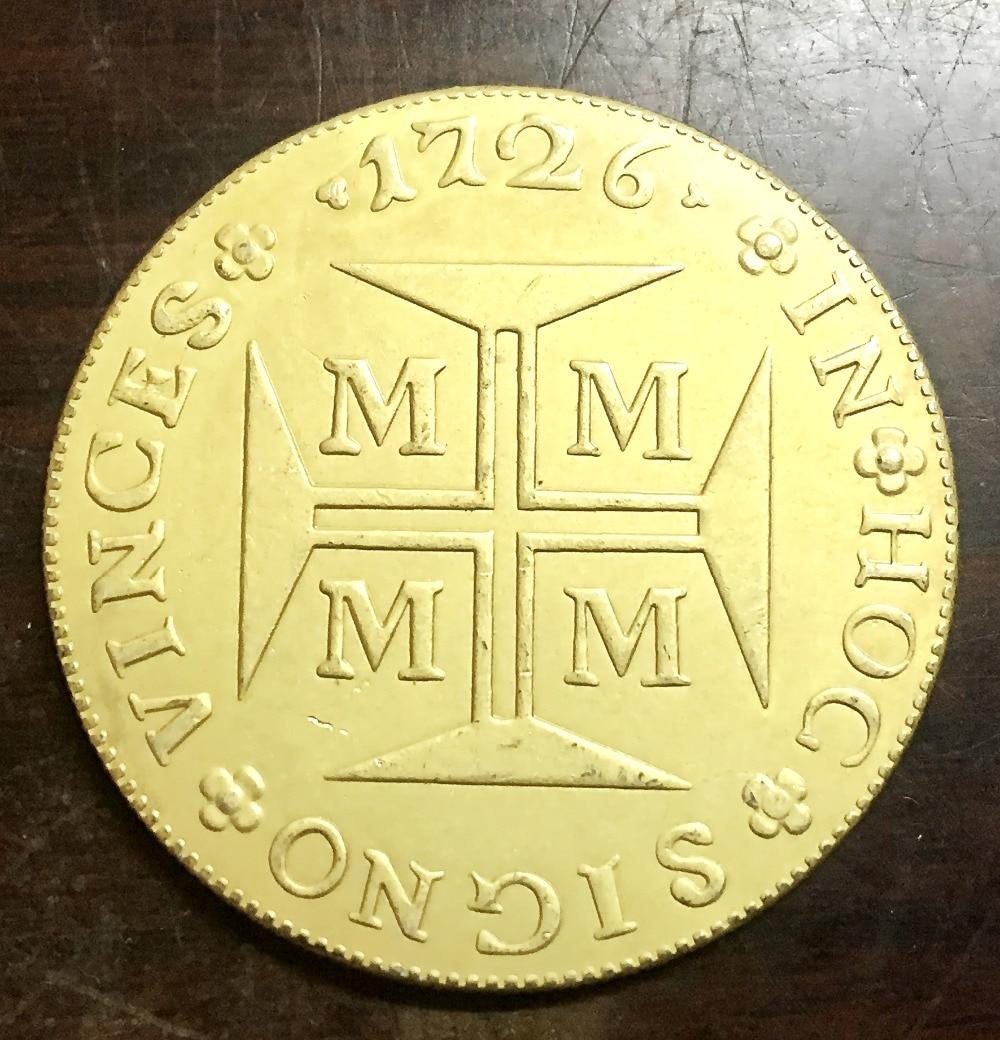 Хороший 1726 м Бразилия 20000 Reis-Жоао V копия 22 К позолоченные монеты