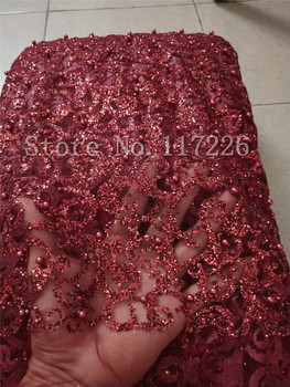 fashion JRB-9124 african glued lace with glitter Beautiful Nigerian  lace fabric with beads  in dark red color