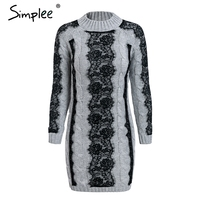 Simplee O neck twist knitted sweater dress women Elegant lace autumn winter dress 2018 Vintage long sleeve white dress vestidos 3
