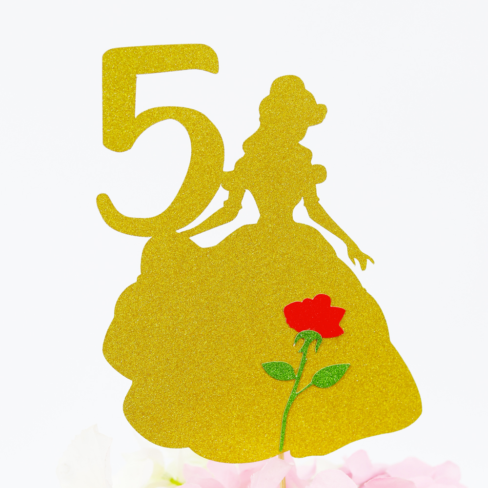 Belle Cake Topper Glitter Topper Birthday Party Decorations Party Supplies Beauty And Beast Cake Topper Princess Belle Topper