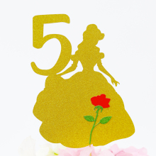 Belle Cake Topper Glitter Birthday Party Decorations Supplies Beauty And Beast Princess