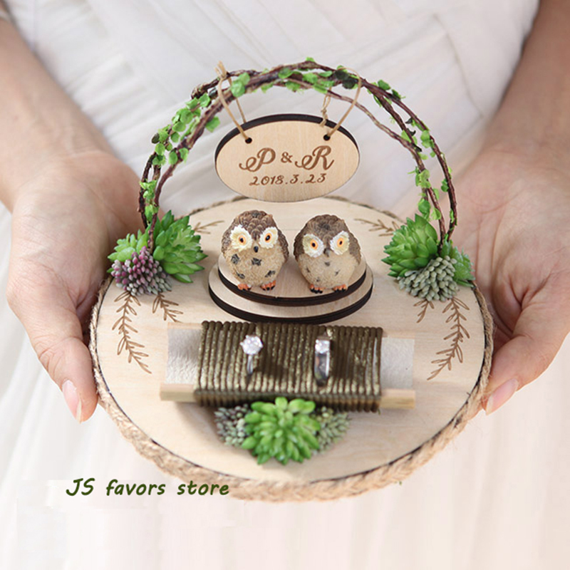 Free shipping 1pcs creative customization perpsonal engagement marriage proposal wedding day Happiness Owl ring pillow