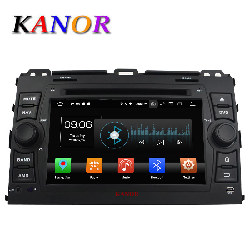 KANOR 2din Autoradio Android 8.0 1024*600 Octa Core 4 + 32g Per Toyota Prado 120 2006 -2013 Auto Headunit Car Video Naviagation