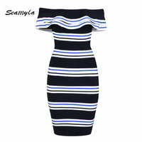 Seamyla New Fashion Bandage Dress Women Off The Shoulder Striped Bodycon Evening Party Dress Sexy Ruffles