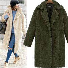 Womens Long Overcoat Plush Topcoat Outer Garment Thick Outwear Female Warm Plus Size Winter Parka ouc558