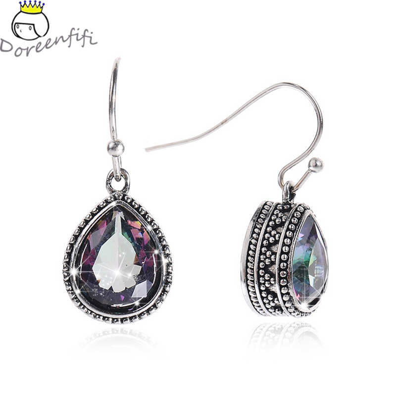 2019 Vintage Jewelry 925 Sterling Silver Tibet Color Crystal Drop Dangle Earrings For Women Female Girls Mother's Day Gift