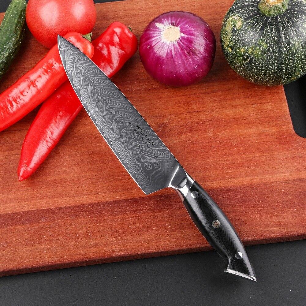 Ev ve Bahçe'ten Mutfak Bıçakları'de Mokithand 8 Inç Şam Çelik Şef Bıçaklar Yüksek Karbon Japon Mutfak Bıçağı Profesyonel Paslanmaz Et Balık Fileto Bıçağı'da  Grup 3