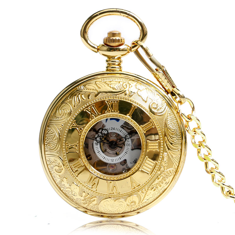 Mechanical Pocket Watch Golden Half Hunter Hand Wind Pocket Watch Hollow Fob Chain Men And Women Lady Watches For Gifts