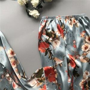 Image 3 - 2020 nova primavera outono ponto pijamas conjunto de seda sensação pijamas pijamas para mulher pijamas feminino
