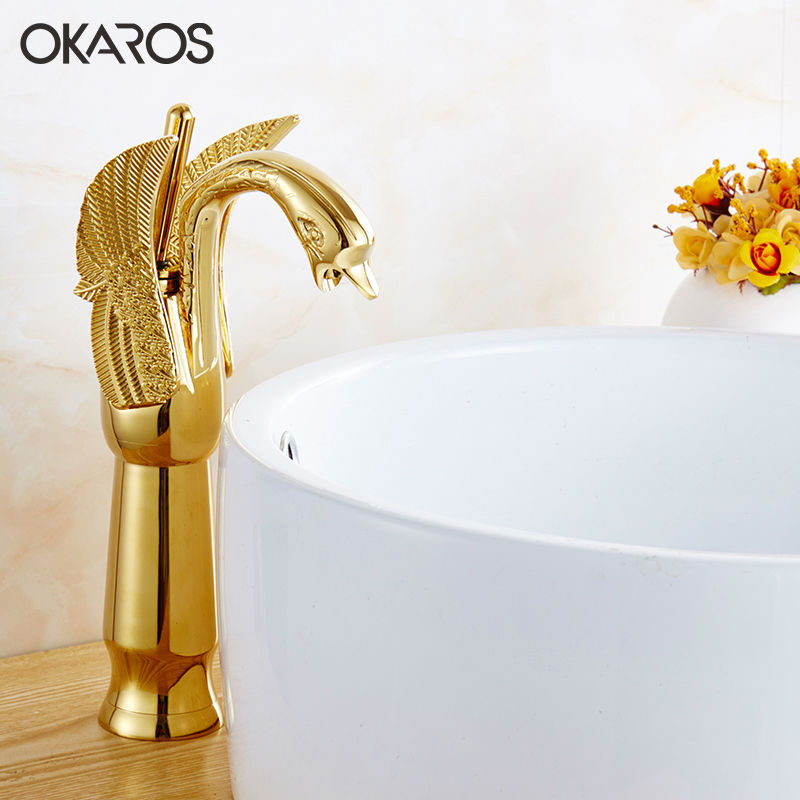 OKAROS Bathroom Basin Faucet Brass Golden Polish Swan Shape Heighten Single Handle Hot&Cold Water Vanity Sink Mixer Tap 2016 New donyummyjo luxury bathroom basin faucet brass golden polish swan shape single handle hot&cold water vanity sink mixer tap page 6