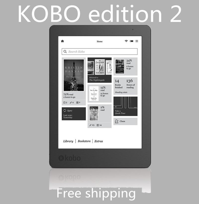 Kobo Aura Edition 2 для чтения электронных книг Carta e-ink 6 дюйма Разрешение 1024x768 имеет светильник 212 ppi чтения электронных книг, Wi-Fi, 4 Гб оперативной пам...