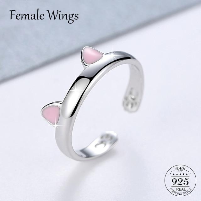 หญิงปีกเงินสเตอร์ลิง 925 แหวนน่ารักสีชมพูเงิน Cat แหวนหูสำหรับผู้หญิงสาวเด็กของขวัญ s925 เครื่องประดับ anel FR025