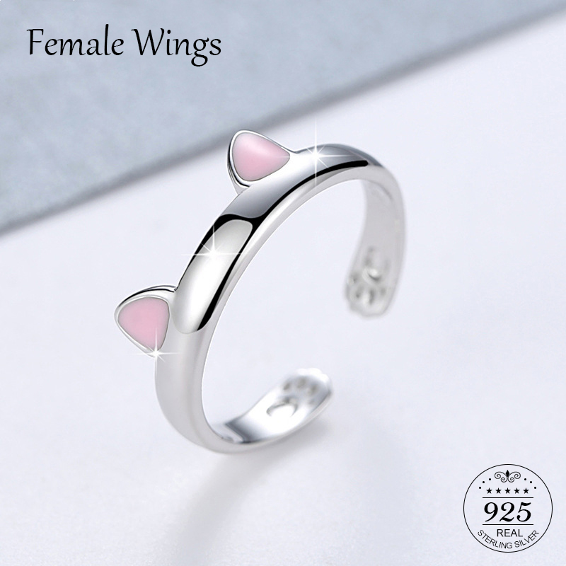 FEMALE WINGS Sterling Silver 925 Ring Cute Pink Silver Cat Ear Rings For Women Young Girl Child Gifts s925 Jewellery Anel FR025FEMALE WINGS Sterling Silver 925 Ring Cute Pink Silver Cat Ear Rings For Women Young Girl Child Gifts s925 Jewellery Anel FR025