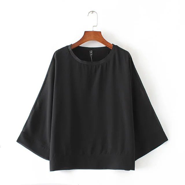 2017 Spring Women Blouses O Neck Japanese-Style  Sleeve Pullover Green/black Shirts Plus Size Brand Ladies Loose Tops XZWM3121