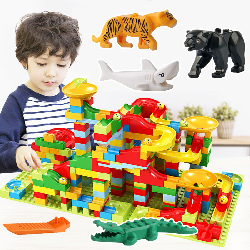 Small Size Marble Run Set Puzzle Maze Race Track Game Toy Roller Coaster Construction Building Block Brick(China)