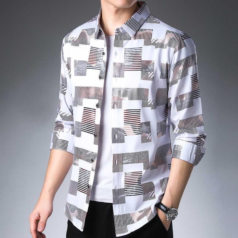 2019 marca casual primavera luxo xadrez manga longa fino ajuste camisa masculina streetwear social camisas de vestido dos homens fashions camisa 2306