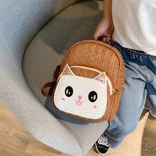 Childrens straw bag 2019 cartoon cute shoulder girls personality mini boys backpack