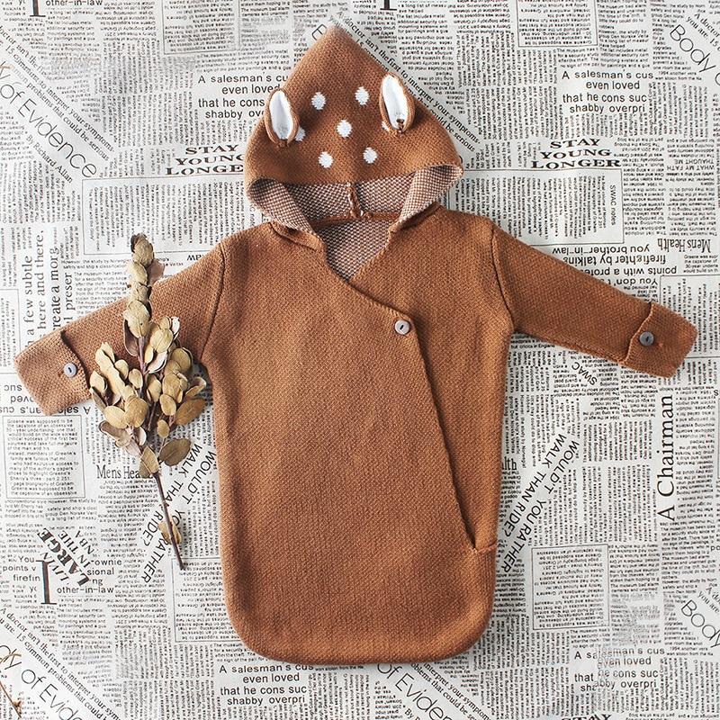 0-12 Mt Neugeborenen Baby Swaddle Wrap Nette Deer Design Baby Decke Mit Kapuze Kleinkind Bebes Gestrickte Kleidung Pullover Schlafen Tasche Infantil Klar Und GroßArtig In Der Art