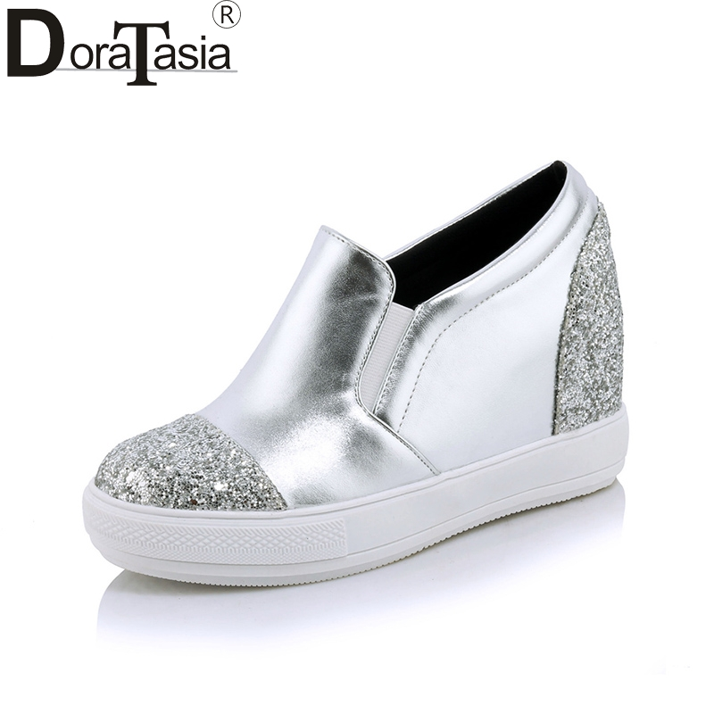 DoraTasia 2018 Spring Autumn Glitter Slip-On Loafers Platform Shoes Woman Height Increasing Casual Women Shoes Plus Size 32-45 usa biotouch mini eyelash perm lotion super wave lash perming curler rod glue kit eyelashes waved liquid permanent makep tools