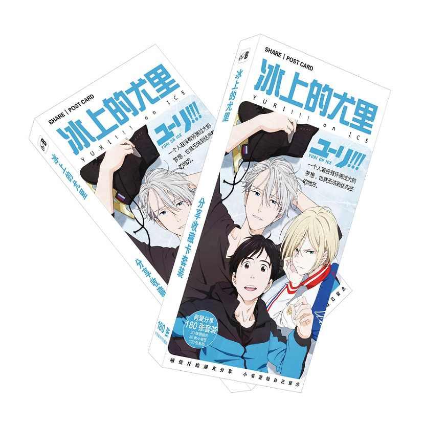 180pcs Set Japanese Anime Yuri On Ice Paper Postcard Greeting Card Message