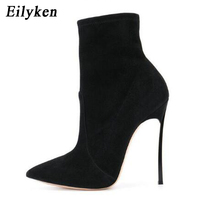 Eilyken 2018 Autumn Winter Women Boots Stretch Fabric Fashion Pointed Toe High Heels Shoes Chelsea Boots Woman Sapatos Size 42