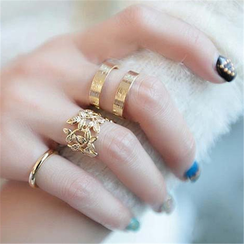 Korean jewelry fabulous three-piece metal blade joint influx of women jewelry ring 3 / batch