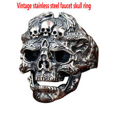 Mens stainless steel ring  Vintage faucet skull Influx single personality