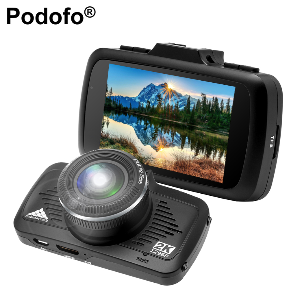 Podofo Car DVR Camera GPS 2 in 1 Ambarella A7LA50 Speedcam Dashcam Full HD 1296P DVRs Night Vision  Registrator LDWS Blackbox
