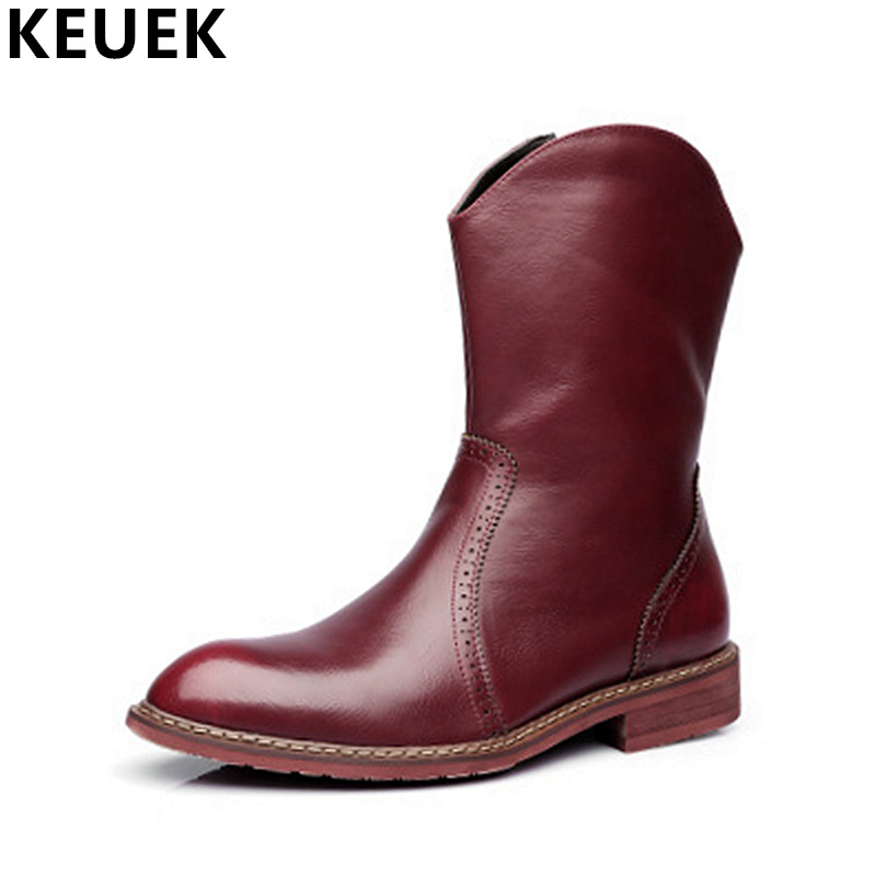 Men Mid-Calf Martin boots Pointed Toe Genuine leather Riding Equestrian boots Non-slip Wear-resistant Motorcycle boots 061