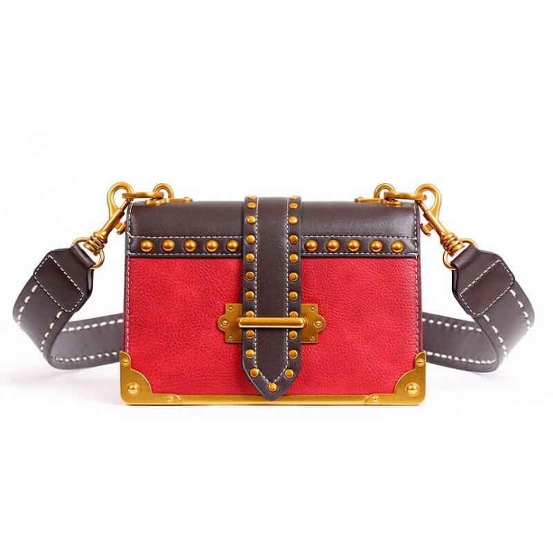 Fashion Small flap Rivet Edge Messenger Bag for women small Crossbody Bag purse with Gold rivets female tassel Shoulder Bag