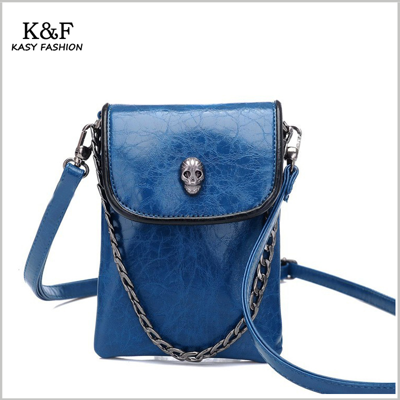 Free Shipping Ladies Small Cell Phone Purse   Bags PU Leather Colorful  Skull Cross Body Bags 5 Colors Long Strap Shoulder Bags-in Crossbody Bags  from ... c279530c729ee