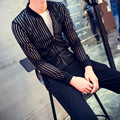 Новый мужская Мода Видеть Сквозь Полосатый Slim Fit Легкий Черный Белый Бейсбол Куртка Пальто