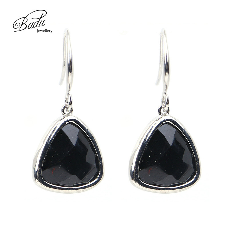 Badu Women Handmade Triangular Crystal Edged Pendant Dangle Earrings for Wedding & Engagement Fashion Acessories Jewelry