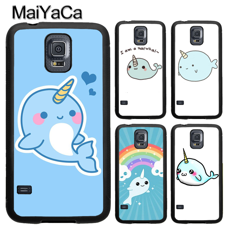 MaiYaCa Kawaii Narwhal Sea Unicorn TPU Phone Case For Samsung Galaxy S4 S5 S6 S7 edge S8 S9 Plus Note 8 5 4 Full Back Cover