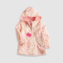 Розовая ветрозащитная куртка с цветочным принтом и сетчатой подкладкой для маленьких девочек, пальто для маленьких девочек