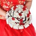 Manual de viento chino con flores novia de la boda roja China diy simulación sejambak perkahwinan