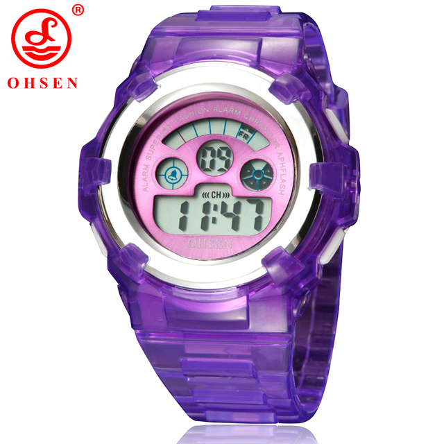 NEW OHSEN Boys Girls Children Kids Watch LED Back Light Digital Watch Military S
