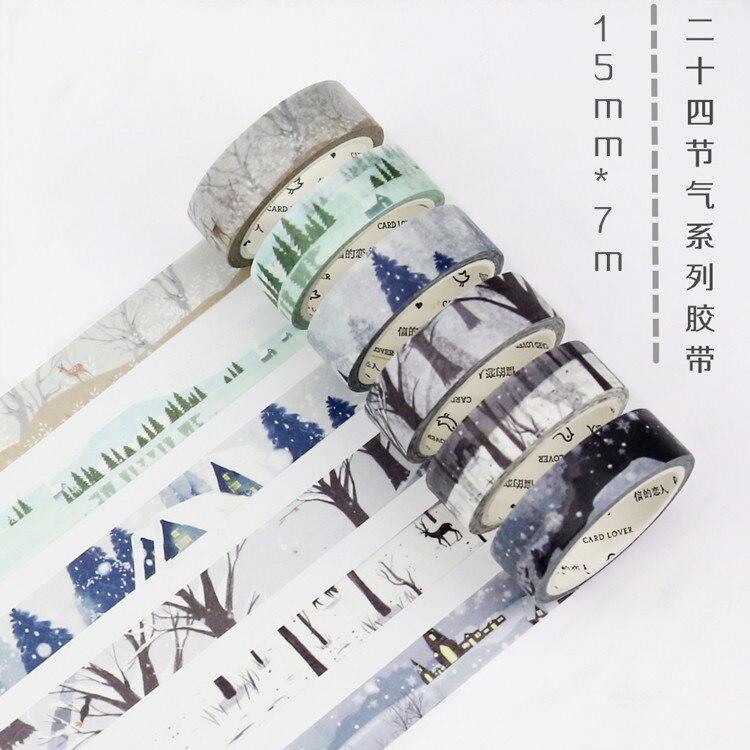 24PCS/LOT season 15mm *7m paper decorative tape masking taoe washi tape